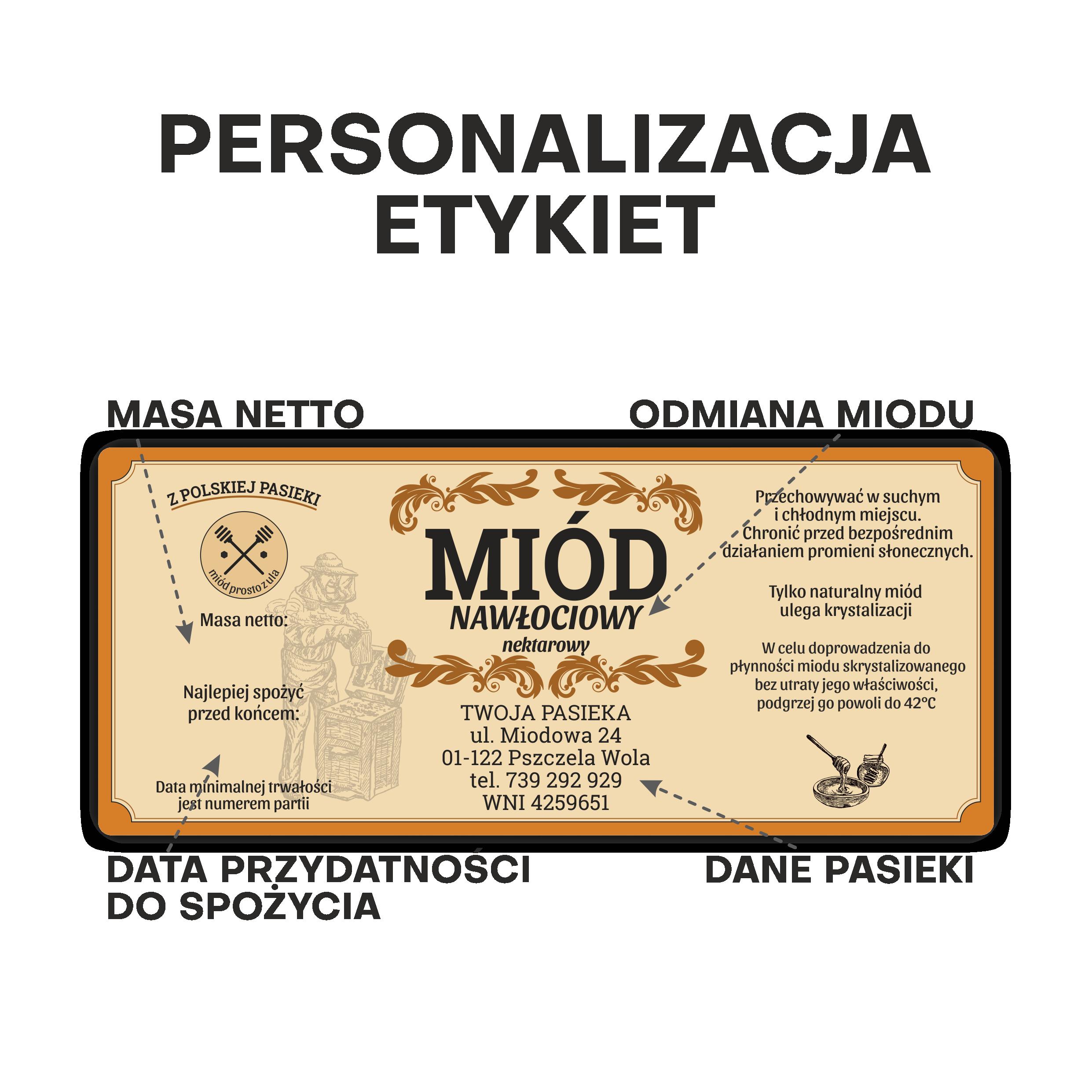 Etykiety na słoiki z miodem